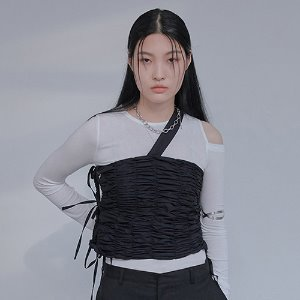 [XYZ] SHIRRING STRAP BUSTIER - BLACK