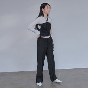 [XYZ] UNISEX SIDE SLIT SLACKS - BLACK