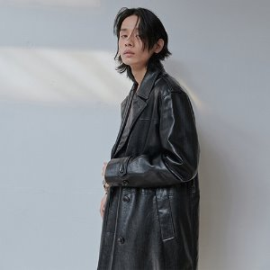 [XYZ] UNISEX LEATHER DOUBLE COAT - BLACK