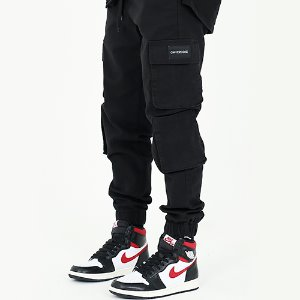 [OHVERDOSE]MULTI CARGO PATCH LOGO JOGGER PANTS BK