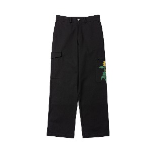 [NONAMENEED] Black sunflower printed cargo pants