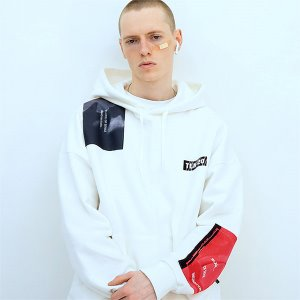 [TENBLADE] Patchwork graphic hood-white