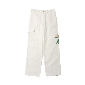 [NONAMENEED] Ivory sunflower printed cargo pants