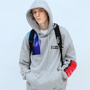 [TENBLADE] Patchwork graphic hood-gray