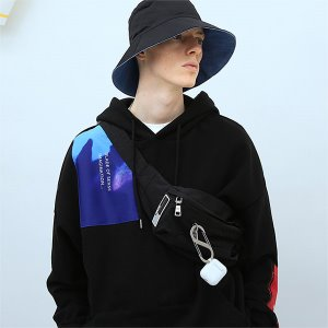 [TENBLADE] Patchwork graphic hood-black