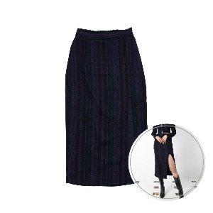 [BLUE PIE] Side Slit Skirt - NAVY