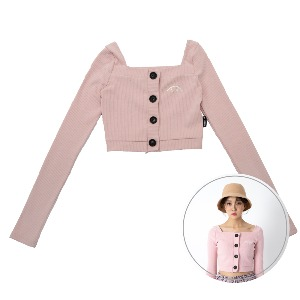 [BLUE PIE] Square Neck Crop Cardigan - PINK