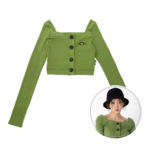 [BLUE PIE] Square Neck Crop Cardigan - GREEN
