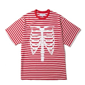 [KING] RIBCAGE BORDER T-Shirt -Red