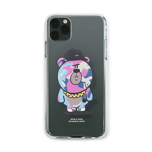 [STIGMA]PHONE CASE CAMOUFLAGE BEAR PINK CLEAR iPHONE 11 / 11 Pro / 11 Pro Max