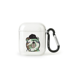 [STIGMA]AirPods CASE CAMOUFLAGE BEAR GREEN - CLEAR