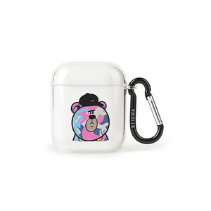 [STIGMA]AirPods CASE CAMOUFLAGE BEAR PINK - CLEAR