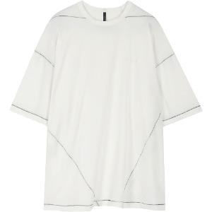 [FLARE] Over-Stitch Silky Short sleeve (FL-156_Off White)