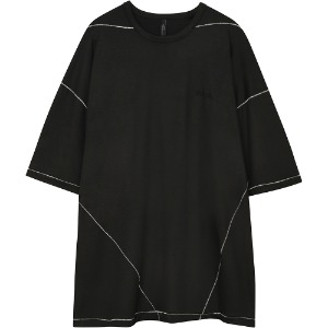 [FLARE] Over-Stitch Silky Short sleeve (FL-156_Black)