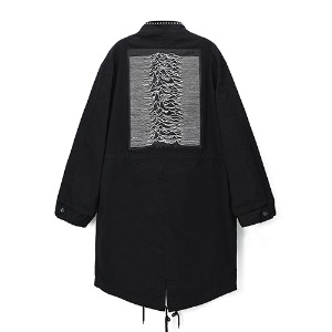 [Rolling Studios] UNKNOWN PLEASURES EMBROIDERED STUDS MODS PARKA IN COTTON TWILL BLACK