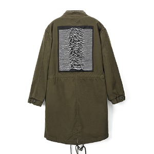 [Rolling Studios] UNKNOWN PLEASURES EMBROIDERED STUDS MODS PARKA IN COTTON TWILL KHAKI