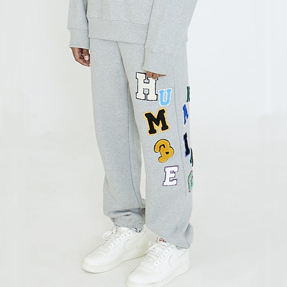 [아임낫어휴먼비잉] LOGOED PATCHWORK SWEATPANTS - GREY