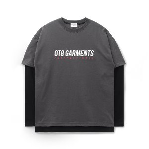 [QT8 GARMENTS]ND I.T Logo Layered Tee (Charcoal)