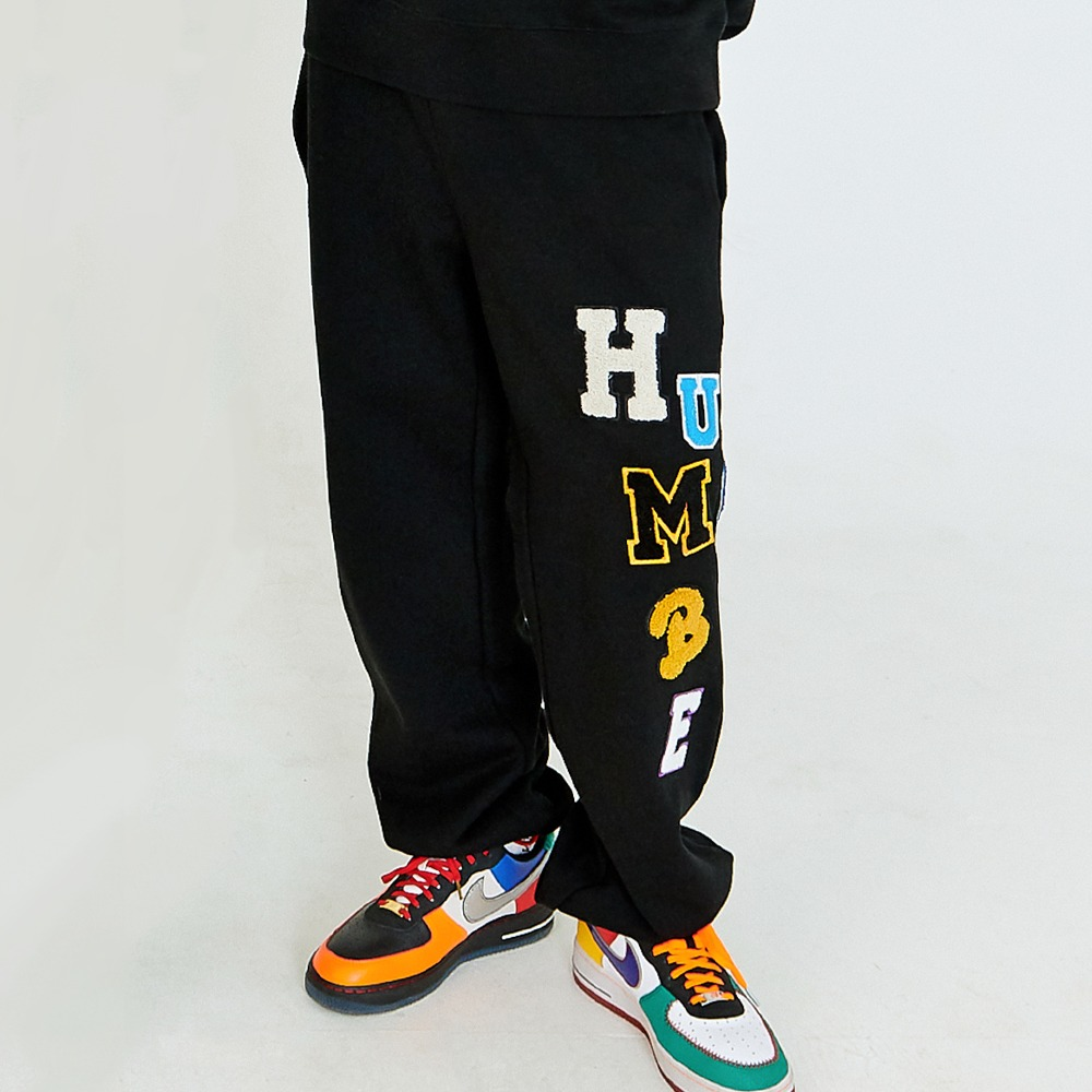 [아임낫어휴먼비잉] LOGOED PATCHWORK SWEATPANTS - BLACK