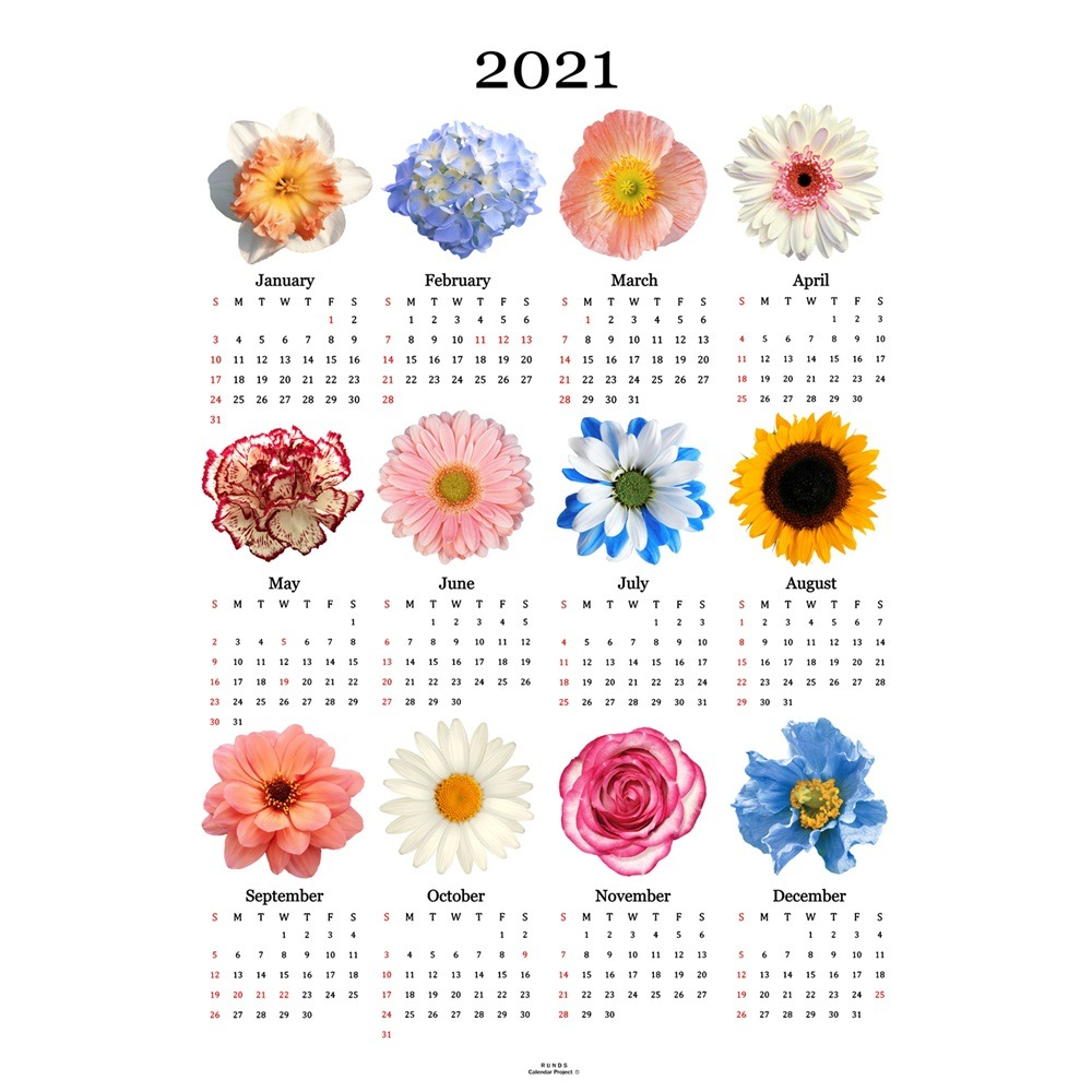 [런디에스] 2021 flower canvas calendar (2size)
