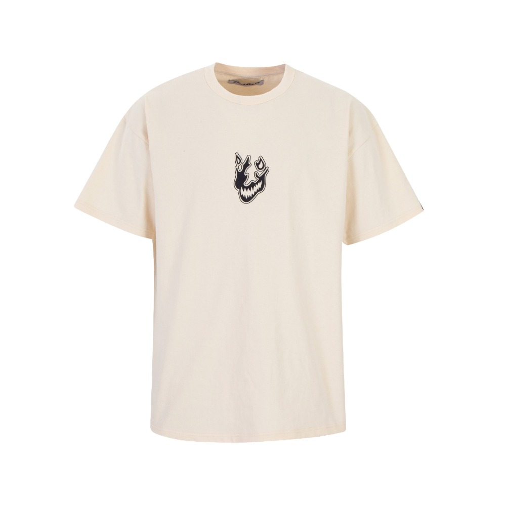 [듀렉데브] DURAG DEV CREAM FLAME FACE T-SHIRT