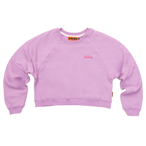 [FRAY] LOGO CROP CREWNECK SWEATER - PURPLE