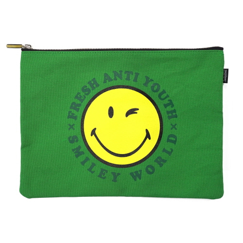 [FRAY x SMILEY] SMILEY LOGO POUCH BAG (MEDIUM SIZE) - GREEN