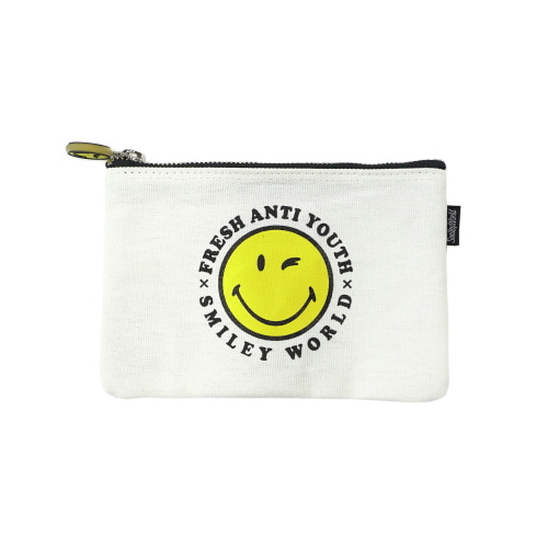 [FRAY x SMILEY] SMILEY LOGO POUCH BAG (SMALL SIZE) - OFF WHITE