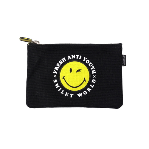 [FRAY x SMILEY] SMILEY LOGO POUCH BAG (SMALL SIZE) - BLACK