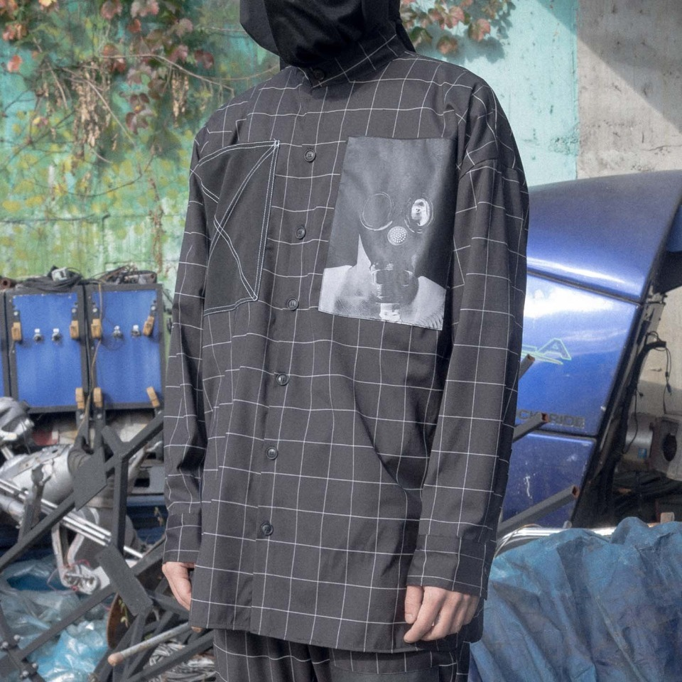 [Blessed Bullet] Technical X windowpane shirt