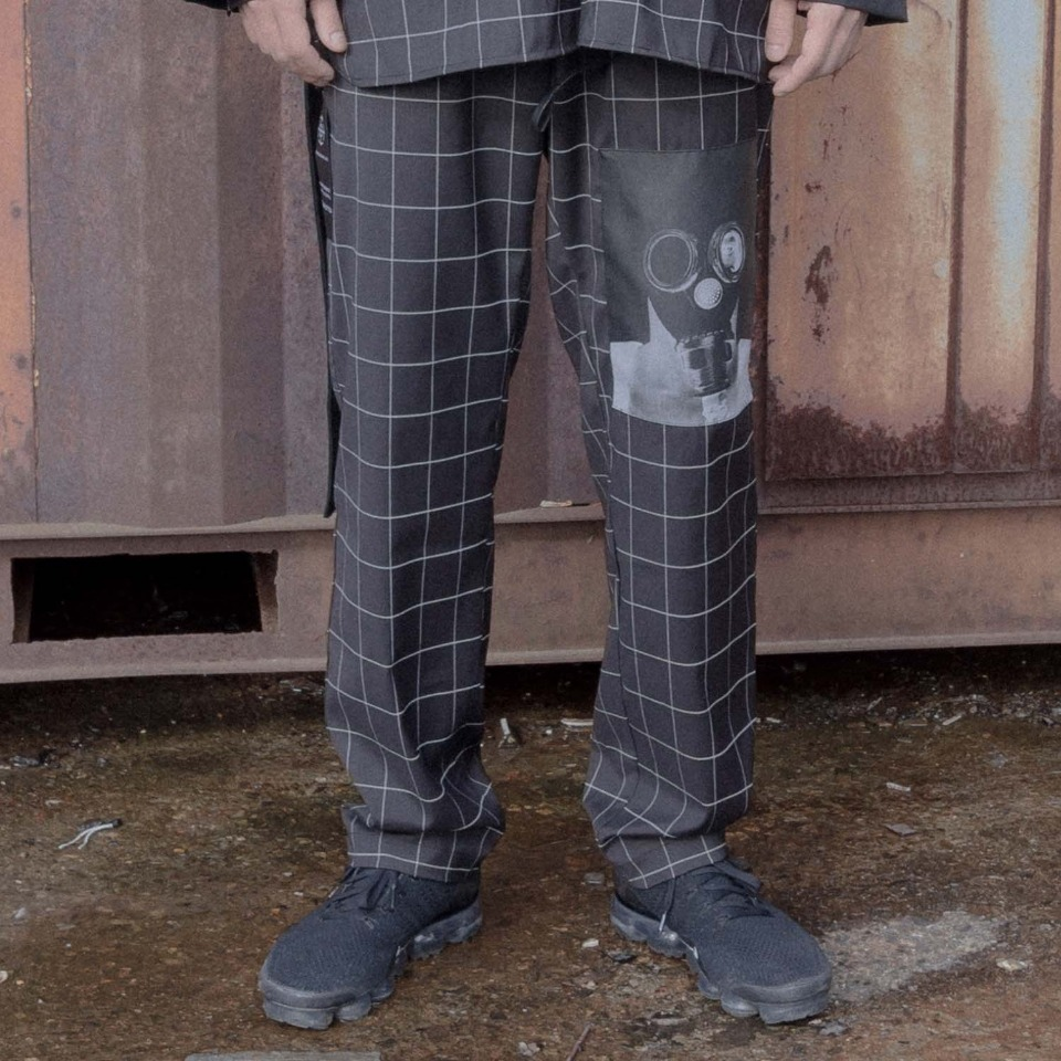 [Blessed Bullet] Technical X windowpane pants