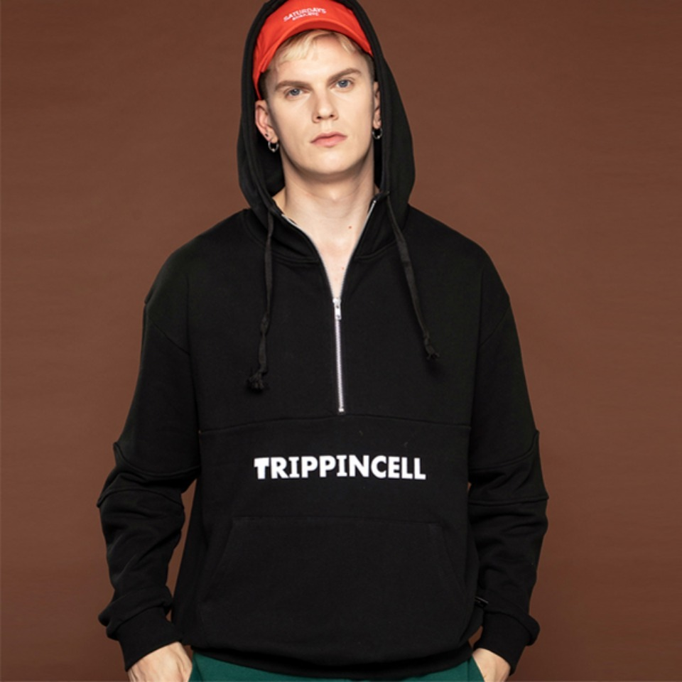 [Trippin CeLL] Trippin zip-up Hoodie (black)