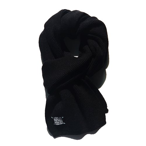 [RUSHOFF] Wool 70% Basic Label Muffler-Black / 울 70% 베이직라벨 머플러-블랙