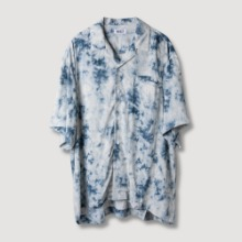 [OBJECT] TIE DYE HAWAIIAN SHIRT - BLUE